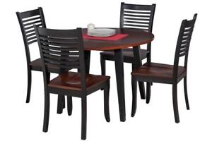 Caroline Five Piece Dining Set In Distressed Light Cherry And Black