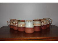 Vintage Set of 6 Cups / Mugs And a Milk Jug Glazed Pottery Possiblly Handthrown