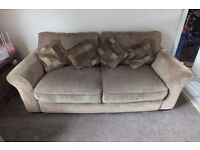 2 and 3 seater brown patterned sofas