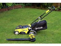 Ryobi 36v Battery Powered Lawnmower and Leaf Blower in very good condition