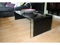 contemporary stylish curved black coffee table