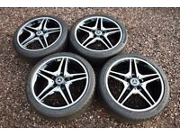 "Genuine 18"" Mercedes W176 A Class AMG Alloy Wheels Continental Tyres CLA Black"