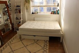 White double bed frame with underbed Storage draws and mattress
