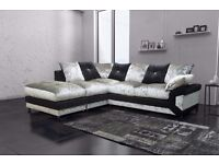"❤Premium Quality❤ Brand New ""Double Padded"" Dino Diamond Crushed Velvet Corner Sofa Or 3+2 Sofa Set"