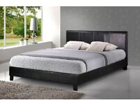 DOUBLE LEATHER BED FRAME WITH HEADBOARD AND MEDIUM FIRM QUILT MATTRESS, SINGLE & KING SIZE AVAILABLE