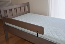 Ikea MYGGA Grey-brown kids wooden bed with mattress
