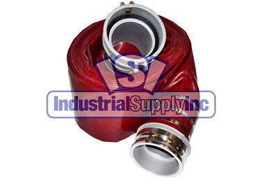 4 X 75ft Trash Pump Water Red Dischage Hose Wcamlocks