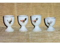 Set of 4 Vintage Egg Cups with Chicken Design, Histon