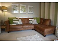 DFS Real leather Corner sofa and chair