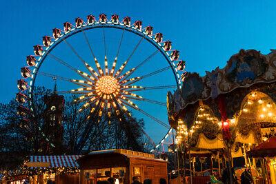 Carnival Lights Ornate Ferris Wheel Carousel Photo Art Print Poster 18x12 -