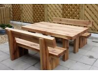 Oak table and bench railway sleeper bench set garden set summer furniture set Loughview Joinery