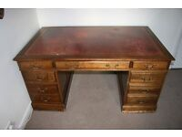 FOR SALE - Late Victorian, fine mahogany pedestal desk