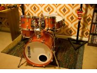Drum Kit, 5-piece Yamaha Absolute Hybrid Maple drums in Orange Sparkle