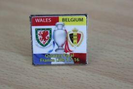 NOW ONLY £1 WALES V BELGIUM EUROPEAN QUARTER FINALS LILLE FRANCE 1st July 2016 enamel badge