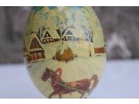 Stunning Vintage Handpainted Wooden Egg Winter Russian Kostroma Ltd Edition Horse Cart Sleigh Art