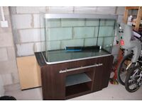 Large aquarium and cabinet including filter and an assortment of other accessories