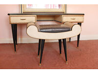 Vintage UMBERTO MASCAGNI Dressing Table with Mirror and Stool from Italy