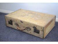 Stunning Large Antique Vellum Suitcase c1920,antique vellum,vintage luggage,steamer trunk,vintage