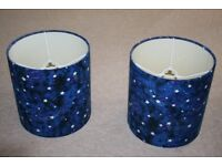 2 blue 'night sky' effect lampshades with glow in the dark stars