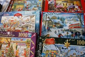 12 Christmas Jigsaw Puzzles each 1000 Piece plus 5 Scenery 1000 Piece Puzzles and 2 extra jigsaws
