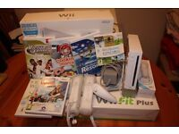 Nintendo Wii Console, Wii Fit Plus Board, Wii Sports Resort, Virtua Tennis & Shaun White Snowboard