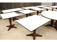 Joblot of Restaurant wood dining tables - padded tops for fine dining