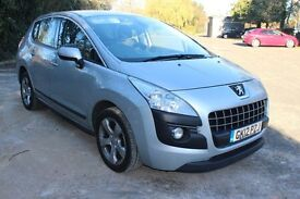 FROM £35 PER WEEK 2012 PEUGEOT 3008 SPORT 5DR HATCHBACK 1.6 DIESEL AUTOMATIC SILVER £30 TAX 65MPG