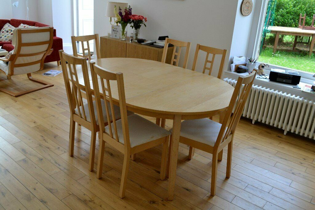 ikea extending oval kitchen table and 6 chairs  in grange