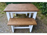 Brand New solid table with two benches
