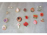 17 Poppy Badges RAF,Animals of War,Royal Navy & Others