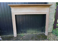 Wooden mantelpiece surround, Edwardian, stripped pine, ready for staining, varnish or painting