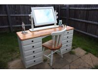 Ducal Victoria solid pine shabby chic dressing table,mirror,chair, Laura Ashley Cottage White paint