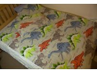 Boys duvet quilt cover and matching pillow case Dinosaur, colourful, fun, educational