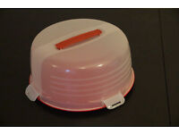 Large Cake Carrier Caddy & Clear Lid red