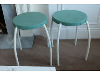 2 Vintage style Stools - Green polka dots covers