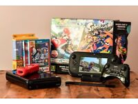Nintendo Wii U 32Gb HD, pre-installed Mario Cart 8 & Splatoon & 2 extra controllers & 3 extra games