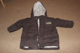 12-18mth Boys Vertbaudet brown fleece lined winter coat, excellent condition