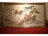 CHINESE SILK PAINTING 百鳥朝鳳絲綢畫