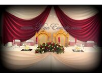 White Table Cloth Hire Black Chair Covers 79p Cube Vase £4 Fish Bowl Hire Starlight Backdrop £199