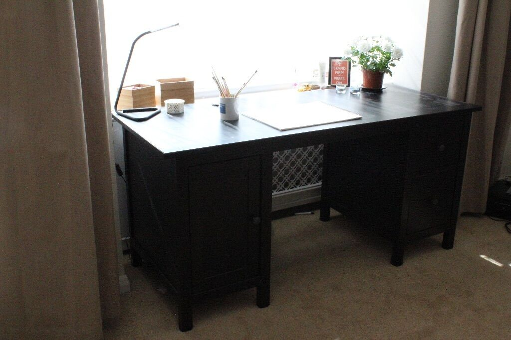 Beautiful Dark Wood Desk Ikea Hemnes 155cm Long X 65cm Deep 75cm
