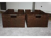 Set of 2 Large Brown Storage Baskets
