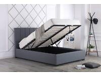 NEW GREY PLUSH VELVET OTTOMAN FRAME BED WITH DESIGN HEADBOARD