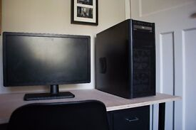 Desktop PC - Antec case, 3.2 GHz, 8GB RAM, 1TB , Window 10, HD monitor - cheap for quick sale -