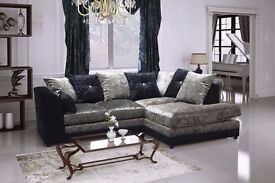 BRAND NEW JULIE CRUSH VELVET CORNER SOFA OR 3+2 SEATER SOFA