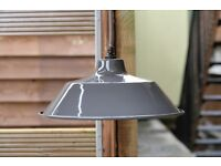 BEAUTIFUL NEW LARGE Grey Enamelled Steel Industrial Factory Ceiling Pendant Light Shade (I have 9)