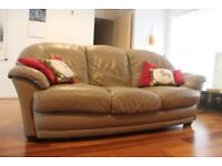 Long 3 Seater Leather Couch
