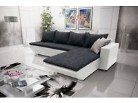 "Corner sofa bed sofa bed UK STOCK 1-5 DAY DELIVERY""Lucca"" White"