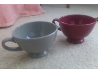 £2 for the pair - - - Large French bowls with handles (versatile...)