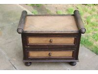Asian/Oriental Bamboo Chest with 2 Drawers and Scroll Motif - Possible Antique