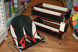 Dolls Double Travel Cot & Baby Bouncer